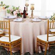 "108"" Round Paillette Poly Flax / Burlap Tablecloth - Blush Pink 10715 (1pc/pk)"
