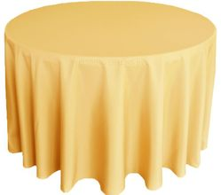 "108"" Round Polyester Tablecloth - Gold 52827 (1pc/pk)"