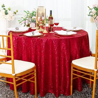"""108"""" Round Seamless Sequin Tablecloths (23 Colors)"""