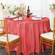 "108"" Round Sequin Taffeta Tablecloths -(NEW SHADE) Coral 01206 (1pc/pk)"