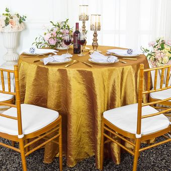 """108"""" Round Seamless Crushed Taffeta Tablecloths (33 Colors)"""