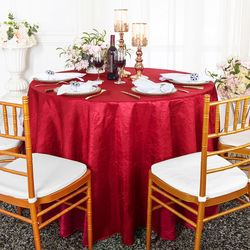 """108"""" Seamless Round Crushed Taffeta Tablecloth - Apple Red 61408 (1pc/pk)"""