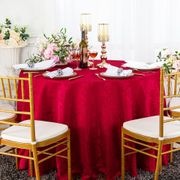 "108"" Round Jacquard Damask Polyester Tablecloth- Apple Red 96508(1pc/pk)"
