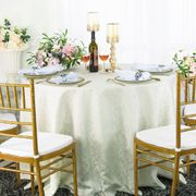 "108"" Round Jacquard Damask Polyester Tablecloth- Ivory 96502(1pc/pk)"