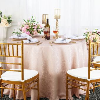 """108"""" Floral Round Jacquard Damask Polyester Tablecloths (14 colors)"""