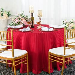 """108"""" Striped Round Jacquard Polyester Tablecloths (7 colors)"""
