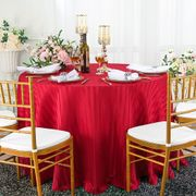 """108"""" Striped Round Jacquard Polyester Tablecloths - Apple Red 86508 (1pc/pk)"""