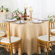 """108"""" Striped Round Jacquard Polyester Tablecloths - Champagne 86528 (1pc/pk)"""