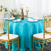 """108"""" Versailles Chopin Seamless Round Jacquard Damask Polyester Tablecloth- Turquoise 92585(1pc/pk)"""
