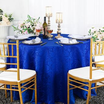 """108"""" Versailles Chopin Round Jacquard Damask Polyester Tablecloths (14 colors)"""