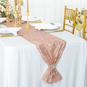 "12""x 108"" Sequin Taffeta Table Runner - Blush Pink / Rose Gold 01015 (1pc)"