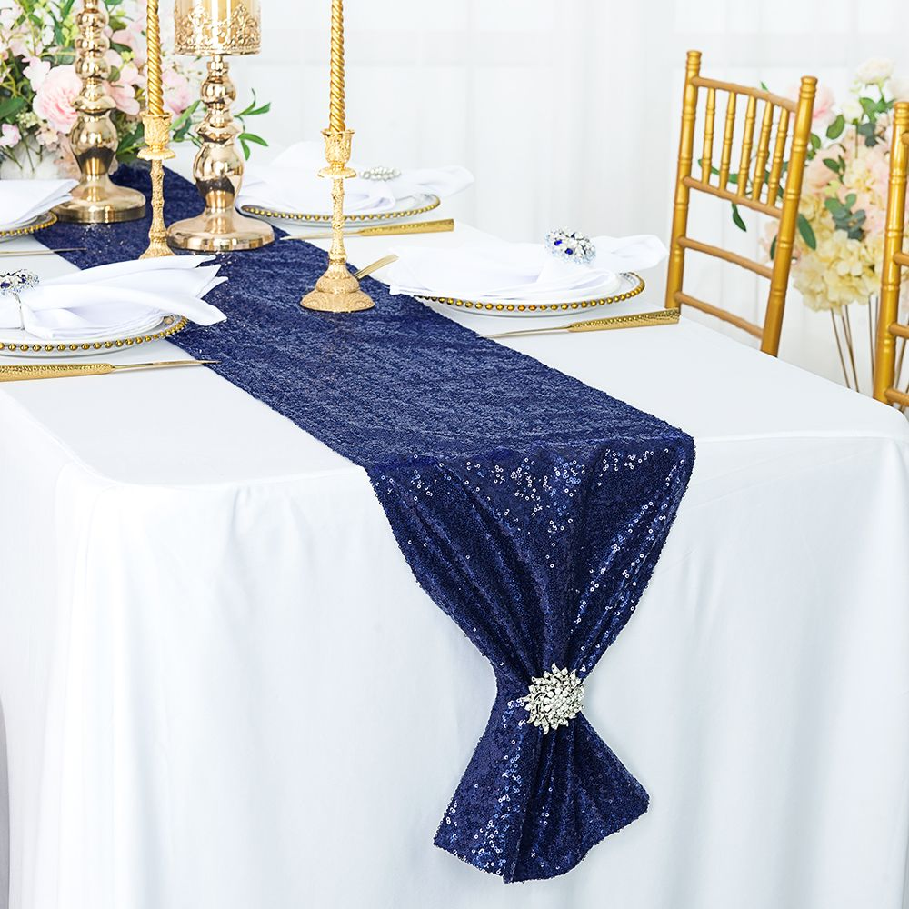 Navy Blue Sequin Table Runners Whole