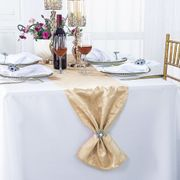 "12"" x108"" Versailles Chopin Jacquard Damask Polyester Table Runners - Champagne 92128(1pc)"