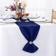 "12"" x108"" Versailles Chopin Jacquard Damask Polyester Table Runners - Navy Blue 92123(1pc)"