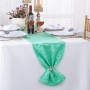 "12"" x108"" Versailles Chopin Jacquard Damask Polyester Table Runners - Tiff Blue / Aqua Blue 92118(1pc)"