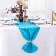 "12"" x108"" Versailles Chopin Jacquard Damask Polyester Table Runners - Turquoise 92185(1pc)"
