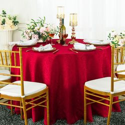 "120"" Marquis Jacquard Damask Polyester Tablecloth - Apple Red 98608(1pc/pk)"