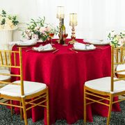 """120"""" Marquis Jacquard Damask Polyester Tablecloth - Apple Red 98608(1pc/pk)"""