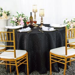 "120"" Marquis Jacquard Damask Polyester Tablecloth- Black 98639(1pc/pk)"