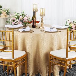 "120"" Marquis Jacquard Damask Polyester Tablecloth- Champagne 98628(1pc/pk)"