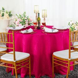 "120"" Marquis Jacquard Damask Polyester Tablecloth- Fuchsia 98609(1pc/pk)"