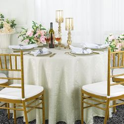 """120"""" Marquis Jacquard Damask Polyester Tablecloth- Ivory 98602(1pc/pk)"""