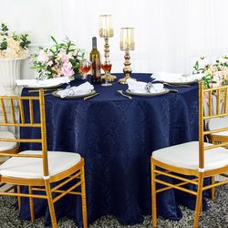 "120"" Marquis Jacquard Damask Polyester Tablecloth - Navy Blue 98623(1pc/pk)"