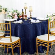 """120"""" Marquis Jacquard Damask Polyester Tablecloth - Navy Blue 98623(1pc/pk)"""