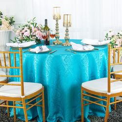 """120"""" Marquis Jacquard Damask Polyester Tablecloth- Turquoise 98685(1pc/pk)"""