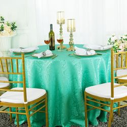 """120"""" Marquis Seamless Round Jacquard Damask Polyester Tablecloths (12 colors)"""