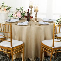 "120"" Round Seamless Paillette Poly Flax / Burlap Tablecloths (10 Colors)"