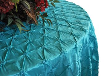 """120"""" Round Pinched wheel Taffeta Tablecloths (3 Colors)"""