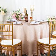"120"" Round Jacquard Damask Polyester Tablecloth- Blush Pink 96615 (1pc/pk)"