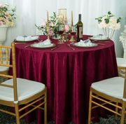 "120"" Round Seamless Italian Velvet Tablecloths (9 Colors)"