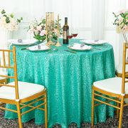 "120"" Round Sequin Taffeta Tablecloths - Tiff Blue / Aqua Blue 01318 (1pc/pk)"