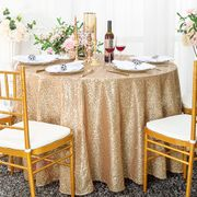 "120"" Round Sequin Taffeta Tablecloths - Champagne 01328 (1pc/pk)"
