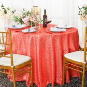 "120"" Round Sequin Taffeta Tablecloths - Coral 01306 (1pc/pk)"