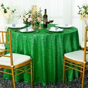 "120"" Round Sequin Taffeta Tablecloths - Emerald Green 01338 (1pc/pk)"