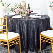 "120"" Round Sequin Taffeta Tablecloths - Pewter 01360 (1pc/pk)"