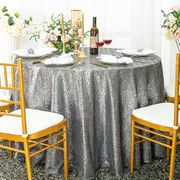"120"" Round Sequin Taffeta Tablecloths - Silver 01340(1pc/pk)"