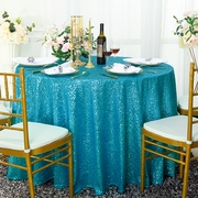 "120"" Round Sequin Taffeta Tablecloths - Turquoise 01385 (1pc/pk)"