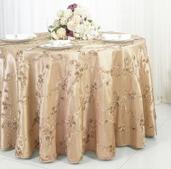 "120"" Seamless Ribbon Taffeta Tablecloth - Champagne 65928(1pc/pk)"