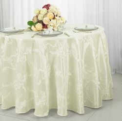 "120"" Round Seamless Ribbon Taffeta Tablecloth - Ivory 65902(1pc/pk)"