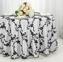 "120"" Seamless Ribbon Taffeta Tablecloth - White/Black 65969(1pc/pk)"