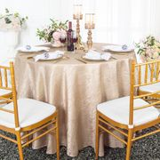"120"" Seamless Round Crushed Taffeta Tablecloth - Champagne 61928(1pc/pk)"