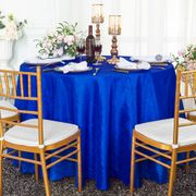 "120"" Seamless Round Crushed Taffeta Tablecloth - Royal Blue 61922(1pc/pk)"