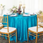 "120"" Seamless Round Crushed Taffeta Tablecloth - Turquoise 61985(1pc/pk)"