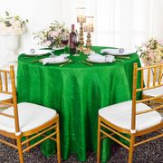 "120"" Seamless Round Crushed Taffeta Tablecloth - Emerald Green 61938(1pc/pk)"