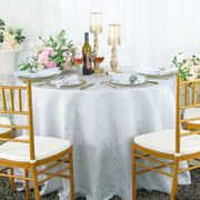 "120"" Round Jacquard Damask Polyester Tablecloth- White 96601(1pc/pk)"