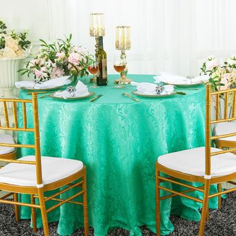 """120"""" Floral Round Jacquard Damask Polyester Tablecloths (14 colors)"""